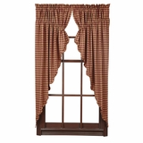 Burgundy Check Scalloped Prairie Curtain Set of 2 63x36x18