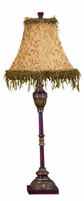 Burgundy Gold Poly Resin Buffet Table Lamp with Shade - Set of 2 Brand Woodland