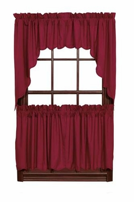 Burgundy  Solid Swag Scalloped Set Of 2 Brand VHC