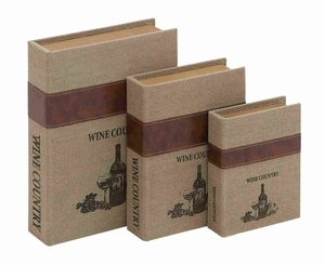 Burlap Book Box with Durable and Weather Resistant Set of 3 Brand Woodland