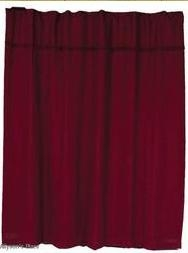 Burlap Merlot Shower Curtain in Maroon Finish with Button Holes Brand VHC