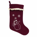 Burlap Merlot Snowflake Stocking Ruffled with Snowman 11x15