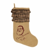 Burlap Santa Stocking Ruffled Cuff Merry Christmas 11x15