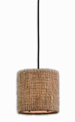 Burleson 1 Light Mini Drum Pendant Lamp With Open Twine Weave Brand Uttermost