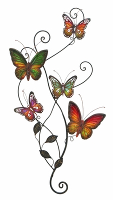 "Butterfly Garden Metal Wall Decor Sculpture 29""x15"" Brand Woodland"