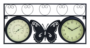 Butterfly Metal Clock And Thermometer with Stylish look Brand Woodland