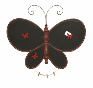 """Butterfly Shaped Wooden Message Board 24"""" H Brand Woodland"""