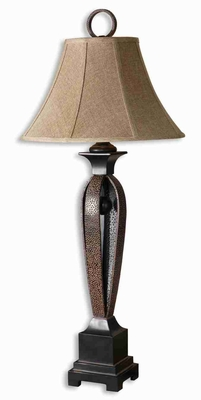 Caballo Style Metal Table Lamp With Rust Brown Hammered Straps Brand Uttermost