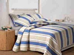 Cabana Stripe Quilt Queen Set With 2 Shams, Cotton Queen Quilt Brand Greenland Home fashions