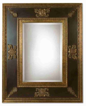 Cadance Wall Mirror with Antiqued Gold Edges And Green Glaze Brand Uttermost