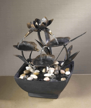 Cadono Metal Leaves Tabletop Fountain with Durable Grade Plastic Brand Zest