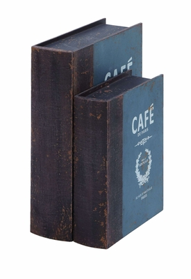 Cafe De Paris Book Box Set In Antique Wood Brand Woodland