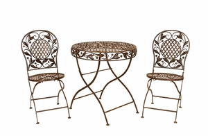 Cairo Bistro Metal Patio Garden Table and Chairs - Set of 3 Brand Woodland