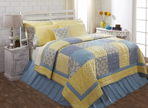 """Caledon Solid Blue Bedskirt Queen 60"""" x 80"""" x 16"""" by VHC Brands"""