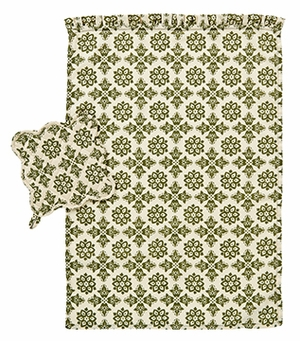 "Calistoga Kitchen Towel Set 2 with Scalloped Pot Holder 8x8"" VHC Brand - 12418 Brand VHC"