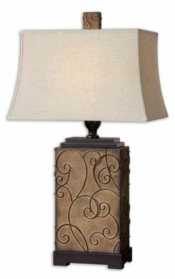Calvina Metal Ivory Table Lamp with Bronze Detailing Brand Uttermost