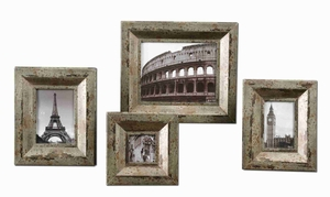 Camber Rustic Photo Frame Set In Champagne Silver Finish Brand Uttermost