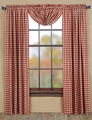 "Cambrie Lane Panel Check Scalloped Lined Set of 2 84x40"" Brand VHC"