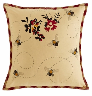 "Cambrie Lane Pillow Fabric Stencil Bees 16x16"" Brand VHC"