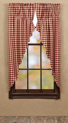 "Cambrie Lane Prairie Curtain Check Scallop Set of 2 63x36x18"" Brand VHC"