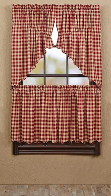 "Cambrie Lane Prairie Swag Check Scallop Lined Set of 2 36x36x18"" Brand VHC"