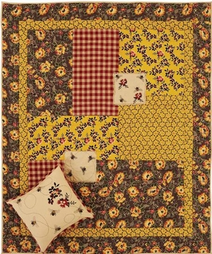 Cambrie Lane Quilted Throw with Stenciled Bees and Flowers Brand VHC
