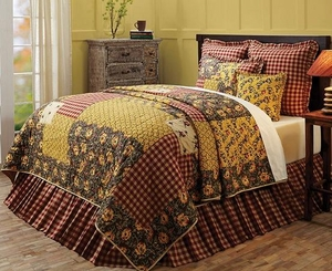 Cambrie Lane Super King Quilt with Stenciled Flowers and Bees Brand VHC