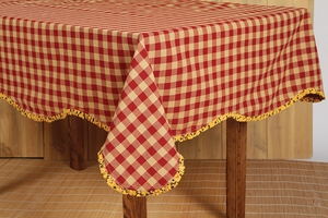 "Cambrie Lane Table Cloth Scalloped with Ruffle 60x60"" Brand VHC"