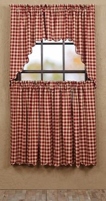 "Cambrie Lane Tier Check Scalloped Lined Set of 2 L36xW36"" Brand VHC"
