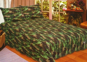 Camouflage Cotton Sham in Green by American Hometex
