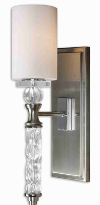 Campania 1 Light Wall Sconce With Curved Glass and Nickle Brand Uttermost