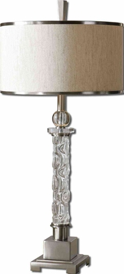 Campania Glass Table Lamp with Aluminum Detailing Brand Uttermost