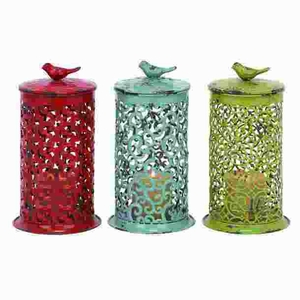 Candle Lantern in Red, Blue & Green with Long Lasting Construction Brand Woodland