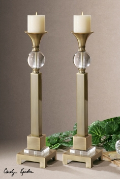 Candleholder Set - Modern Candle Holder Pair With Crystal Accents Brand Uttermost