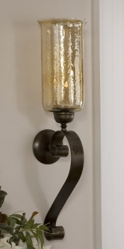 Candleholder - Wall Mounted Sconce Candle Holder With Hand Forged Glass Brand Uttermost