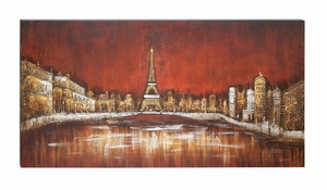 Canvas Art With Hand Painted Eiffel Tower Amid High Rise Buildings Brand Woodland