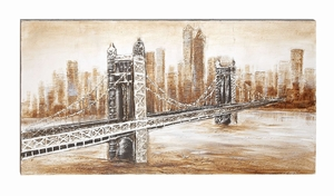 Canvas Art With Historical Bridge Amid High Rise City Buildings Brand Woodland