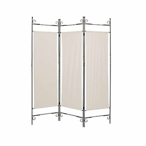 Canvas Screen Crafted with Solid Wrought Iron in Brass Finish Brand Screen Gem
