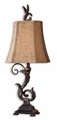 Caperana Black Buffet Lamps with Leaf Design - Set of 2 Brand Uttermost