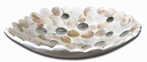Capiz Shell Style Bowl Set Accented with Concave Mirrors Brand Uttermost