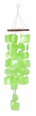 Capiz Shell Wind chime Lime Green Tinted Wind Chime 28x6 Brand Woodland