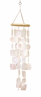 Capiz Shells Wind chime Luminous Shell  Wind Chime 20x5  - 40304 by Benzara