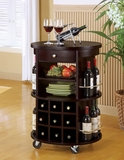 Cappuccino Round Bar Serving Cart with Wine Storage