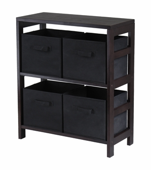 Winsome Wood Capri 2 Tier Storage Shelf with 4 Black Baskets