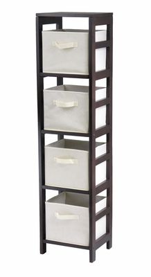 Capri 4-Section and Storage Shelf with 4 Foldable Beige Fabric Baskets by Winsome Woods