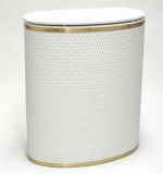 Capri Classic Bowed Front Hamper in White/Gold by Redmon