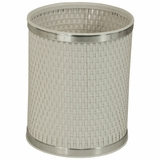Capri Classic Round Wastebasket in White/Silver by Redmon