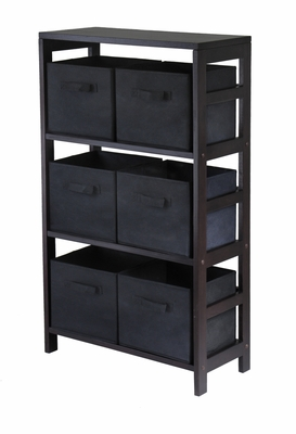 Capri Espresso Finish 3 Section Shelf with 6 Black Baskets by Winsome Woods