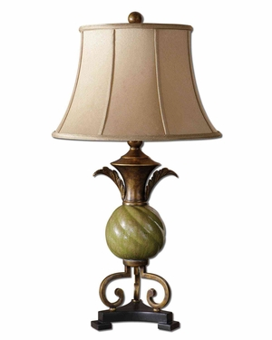 Capriva Green Table Lamp with Bronze Detailing in Gold Brand Uttermost