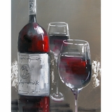 Captivating Masterpiece of Wine and Two Glasses III by Yosemite Home Decor